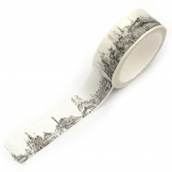 Bandă adezivă decorativă hârtie 15 mm Washi Tape YD Beautiful Europe 5 metri -1 bucată