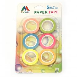 Хартиено тиксо за декорация 7 мм микс цветове 5 метра -6 броя