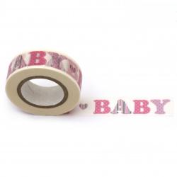 URSUS хартиено тиксо Masking Tape с печат BABY 15x10 м цвят син -1 брой