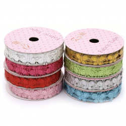 Ribbon satin butterflies with dots and glitter 15 mm assorted colors -1.80 meters