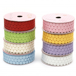 Ribbon satin flowers 22 mm Mix colors -1.80 meters