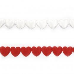 Сатенена лента сърца 16 мм асорте цветове -1.80 метра
