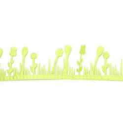 Flori din satin panglică 38 mm culoare verde aprins -1,80 metri