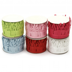 Ribbon satin flower pot 40 mm assorted colors -1.80 meters