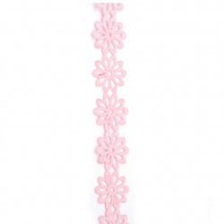 Лента сатен цвете 40 мм цвят розов -3 метра