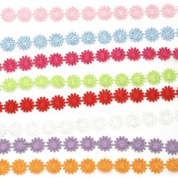 Лента сатен цветя с точки брокат 15 мм асорте цветове -1.80 метра