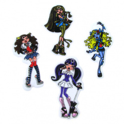Figurina cu cauciuc brocat GIRL 60x35 mm 6 tipuri -10 bucăți