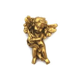 Фигурка полирезин ангелче музикант 30x28x6 мм цвят мед - 2 броя
