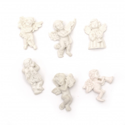 Figurine polyresin angel musician 28 ± 36x16 ± 30x6 ± 13 mm color white assorted - 2 pieces