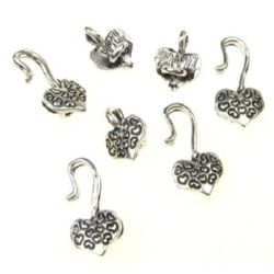 Clasp two parts heart Jewellery Making25x8 mm color silver -5 sets