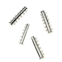 Закопчалка магнитна 35x10x7 мм две части шест уши цвят сребро