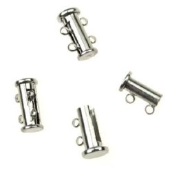 Magnetic clasp 15x10x7 mm two parts two ears color silver