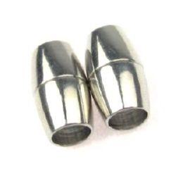 Закопчалка магнитна 15.5x9 мм дупка 6 мм цвят сребро