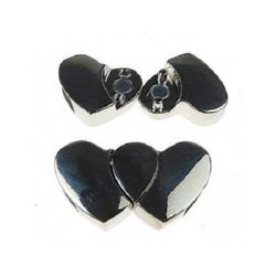 Fastener metal magnetic hearts two parts 17x29x6 mm hole 11x4 mm color silver