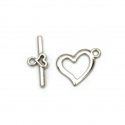 Metal clasp two parts heart,Jewellery Making 15x19 mm, 22x9 mm hole 2 mm color silver -5 sets