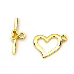 Metal clasp two parts heart,Jewellery Making 15x19 mm, 22x9 mm hole 2 mm color gold -5 sets