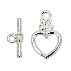 Закопчалка метална 2 части сърце 20x13x3.5 мм , 16.5x7.5x4 мм дупка 2 мм цвят бял -10 комплекта