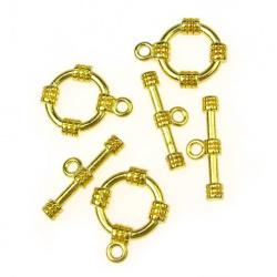 Μεταλλικό στρόγγυλο κούμπωμα με δύο μέρη 15x19 mm, 20x7 mm τρύπα 2 mm χρώμα χρυσό -5 σετ