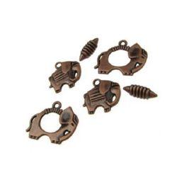 Закопчалка метална три части - слон 25x20 мм, слон 19x19 мм, елипса 15x5 мм дупка 2 мм цвят антик мед -4 комплекта