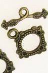Закопчалка метална две части кръг 18x22 мм , 22x8 мм дупка 1.5 мм цвят антик бронз -5 комплекта