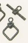 Закопчалка метална две части ромб 21x15 мм , 24x10 мм дупка 2.5 мм цвят графит -5 комплекта