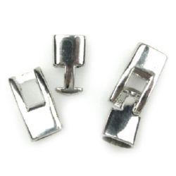 Закопчалка метална две части 36x12x8 мм дупка 4.5 мм цвят сребро -1 комплект