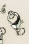 Закопчалка тип щъркел 7x12 мм с две халки 3.8 мм цвят сребро -5 броя