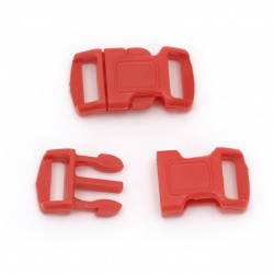 Plastic clasp 15x28 mm hole 10 mm red -10 pieces