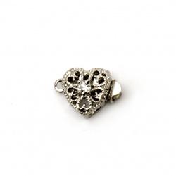 Закопчалка метална с кристал сърце 17x11x7 мм дупка 2.5 мм цвят сребро