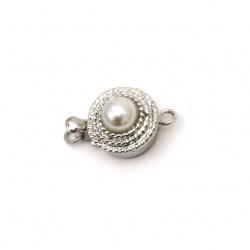 Закопчалка метална с перла 18x12x9 мм дупка 2 мм цвят сребро
