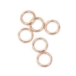 Inel metalic 8x1 mm culoare auriu roz -200 bucăți