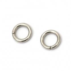 Inel de oțel 8x1,5 mm grosime culoare argintiu -20 bucăți
