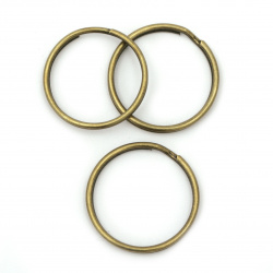 Inel metalic cu două spire 25x1,5 mm pentru breloc culoare bronz antic -10 bucăți