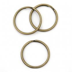 Inel metalic cu două spire 30x1,95 mm pentru breloc culoare bronz antic -10 bucăți