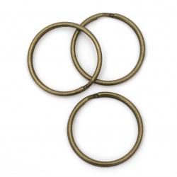 Inel metalic cu două spire 35x2 mm pentru breloc culoare bronz antic -10 bucăți