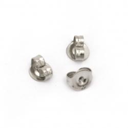 Șurub pentru cercei din oțel 5x4x2.5 mm gaură 1 mm culoare argint -50 bucăți