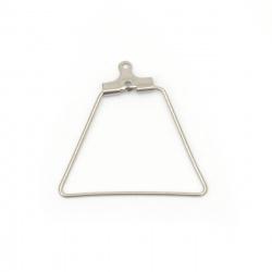 Накрайник за обеца стомана 28x26x2 мм дупка 1 мм цвят сребро -4 броя