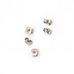 Винт за обеца стомана 5x3.5 мм дупка 1 мм цвят сребро -30 броя