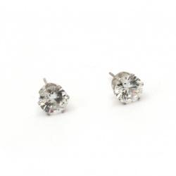 Varf cercei metalic cu cristale 16x8 mm cui 10 mm culoare argintiu -2 bucati