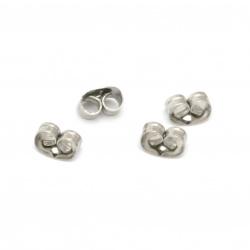 Κούμπωμα για σκουλαρίκι Ατσάλι 6x4,5x3,5 mm τρύπα 1 mm χρώμα ασήμι -50 τεμάχια