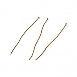 Свързващ елемент метал 65 мм с главичка цвят антик бронз -10 грама ~36 броя
