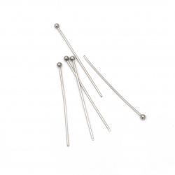 Свързващ елемент стомана 0.6x30 мм с главичка топче 1.8 мм цвят сребро -20 броя