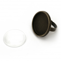 Метална основа за пръстен 29x23 мм със стъклен кабошон 25 мм цвят антик бронз