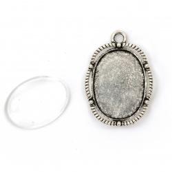 Метална основа за медальон 26x17 мм със стъклен кабошон 18x3x4 мм цвят сребро