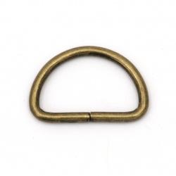 Diametru interior metalic cu jumătate de inel 25x15x2.8 mm culoare bronz antic -20 bucăți