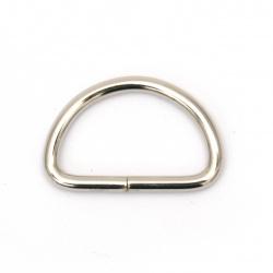 Полухалка метална вътрешен диаметър 20x12x2.2 мм цвят сребро -20 броя