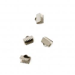 Накрайник метал щипка стомана 8.5x8x5 мм дупка 3x1.5 мм цвят сребро -10 броя