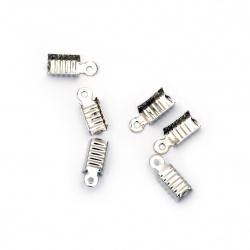 Ακροδέκτες-σφιχτηράκια μεταλλικά 4,5x11 mm ασημί -50 τεμάχια