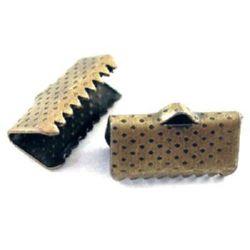 Ακροδέκτες-σφιχτηράκια μεταλλικά 13 mm αντικέ μπρονζέ -50 τεμάχια