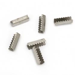 Ακροδέκτες-σφιχτηράκια μεταλλικά 11x4 mm ασημί -50 τεμάχια